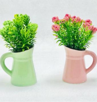 فروش عمده گلدان سراميك٢عددي طرح پارچ