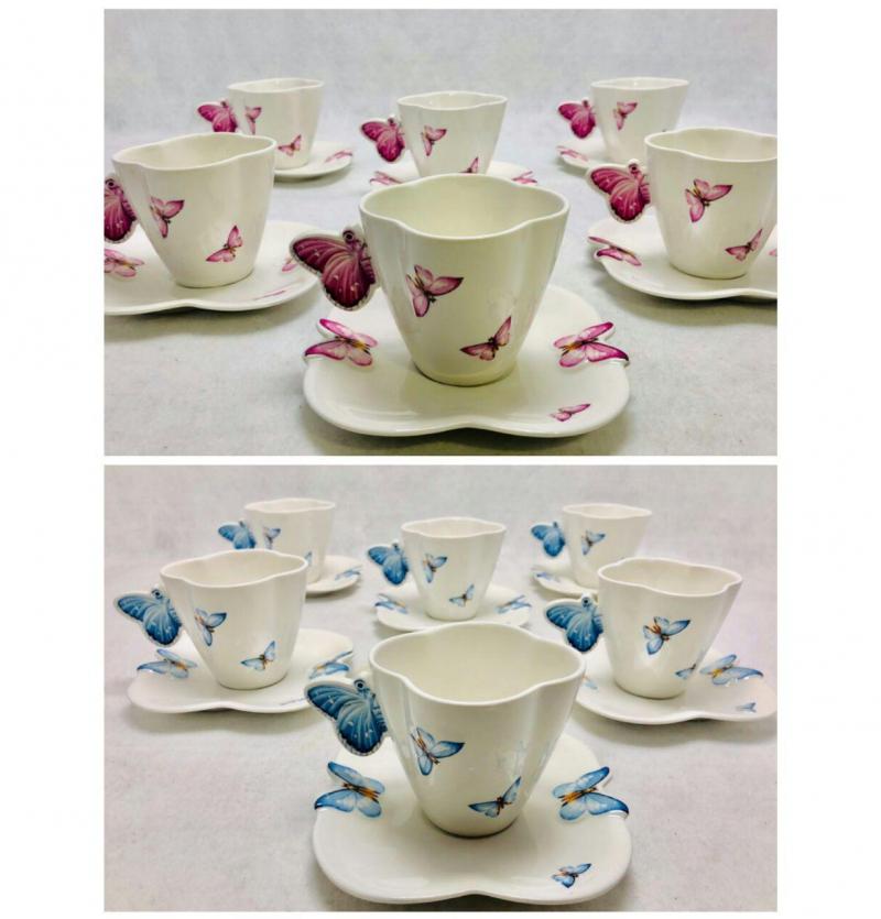فروش عمده سرویس چای خوری طرح پروانه