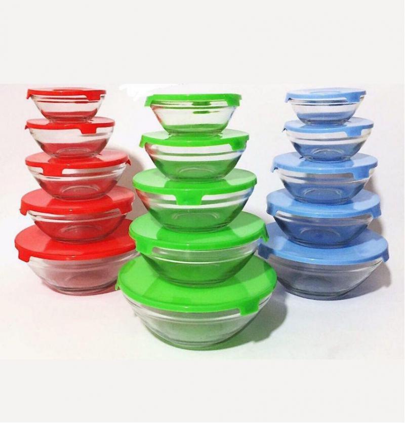 فروش عمده ظرف 5 تیکه شیشه ای درب رنگی