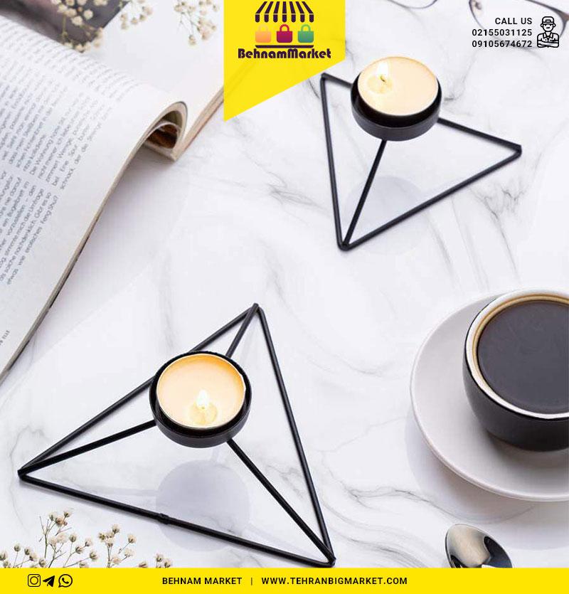 جا شمعی مثلثی جفتی