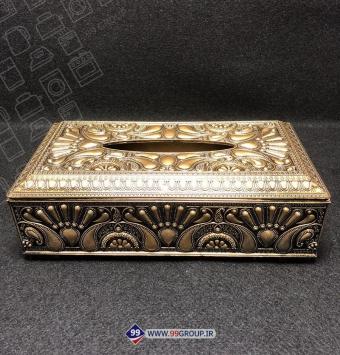 فروش عمده جعبه دستمال كاغذی کلاسیک طلایی