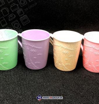 فروش عمده لیوان 4 تایی الیاف گندم طرح دار